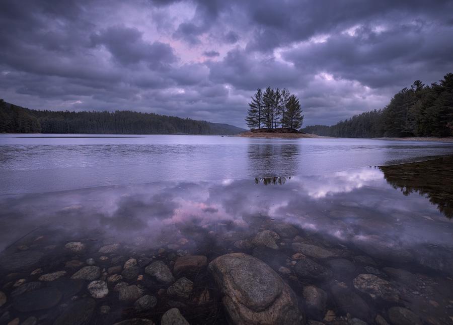reflection, Quabbin Reservoir, Massachusetts, Patrick Zephyr, island, violet, dusk, photo