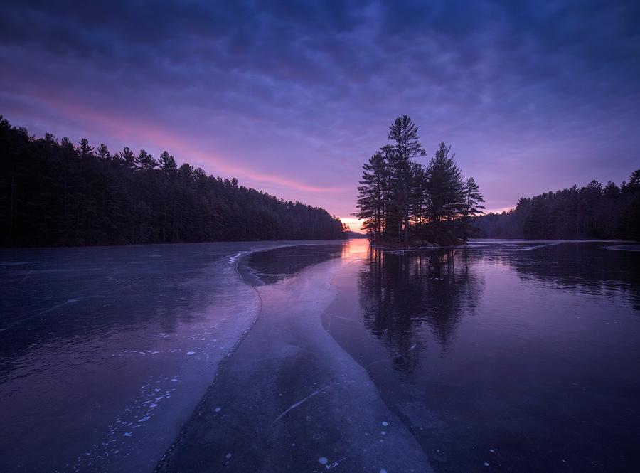 island, quabbin reservoir, patrick zephyr, massachusetts, winter dawn sunrise, ice, forest, New England, photo