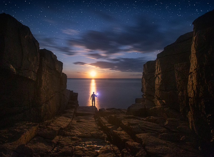 Acadia National Park, Maine, night, astrophotography, moonrise, stars, Patrick Zephyr, park loop drive, acadia granite, photo