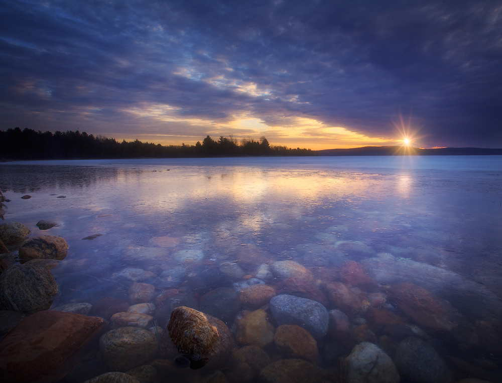 sunrise, quabbin reservoir, dawn, massachusetts, rocks, lake, new salem, patrick zephyr, water, photo