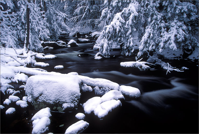 Amethyst brook, winter, Amherst, Massachusetts, snow
