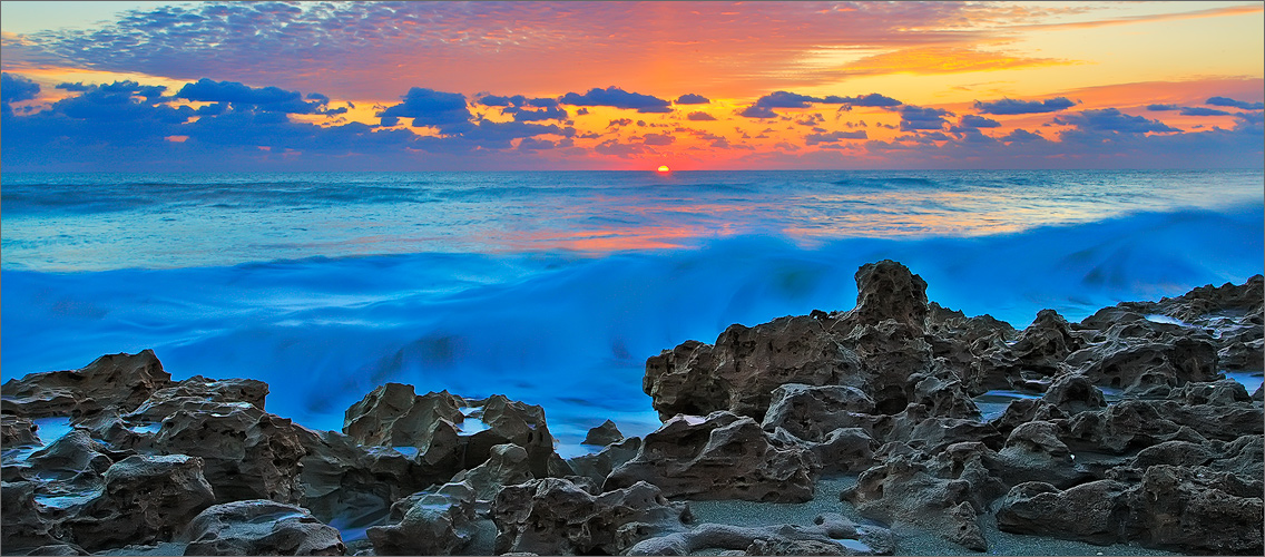 Coral cove, Florida, ocean, sunrise, wave