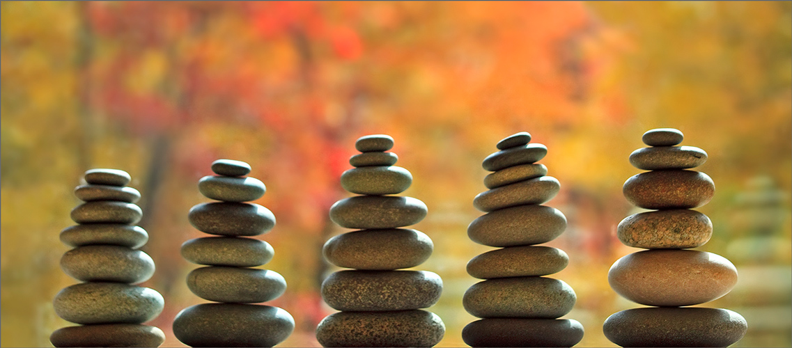 Cairns, autumn, stacked stones