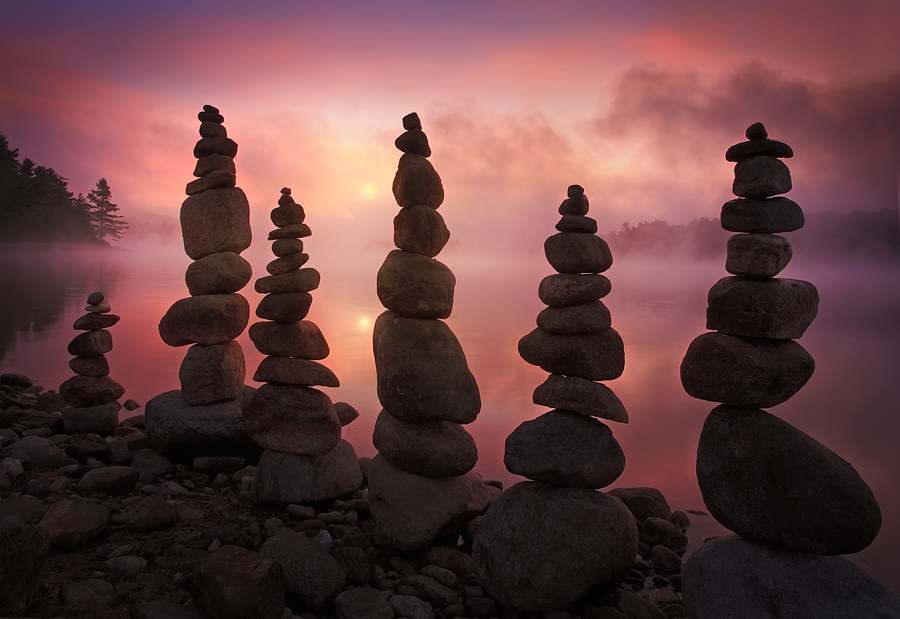 I arrived a bit early for a sunrise and decided to stack some stones while I waited for the sun to burn off the fog. The feeling...