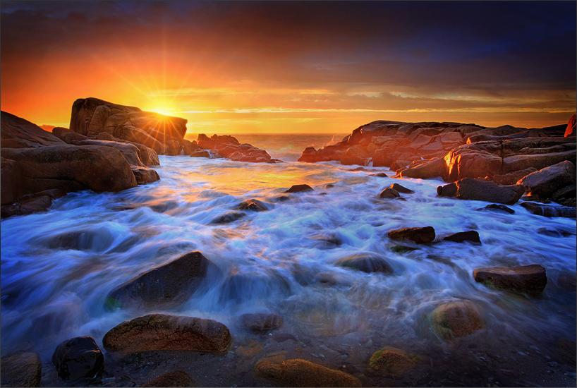 Biddeford pool, Maine, rocks, sunrise, photo