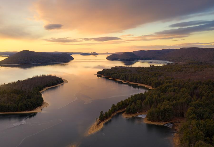 Massachusetts, lake, islands, Patrick Zephyr, sunrise, photo