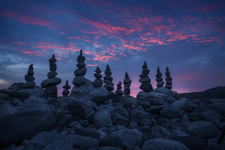 I spent some time fixing my stone cairns from the night before in hopes of a sunrise. It looked like it wasn't going to happen...
