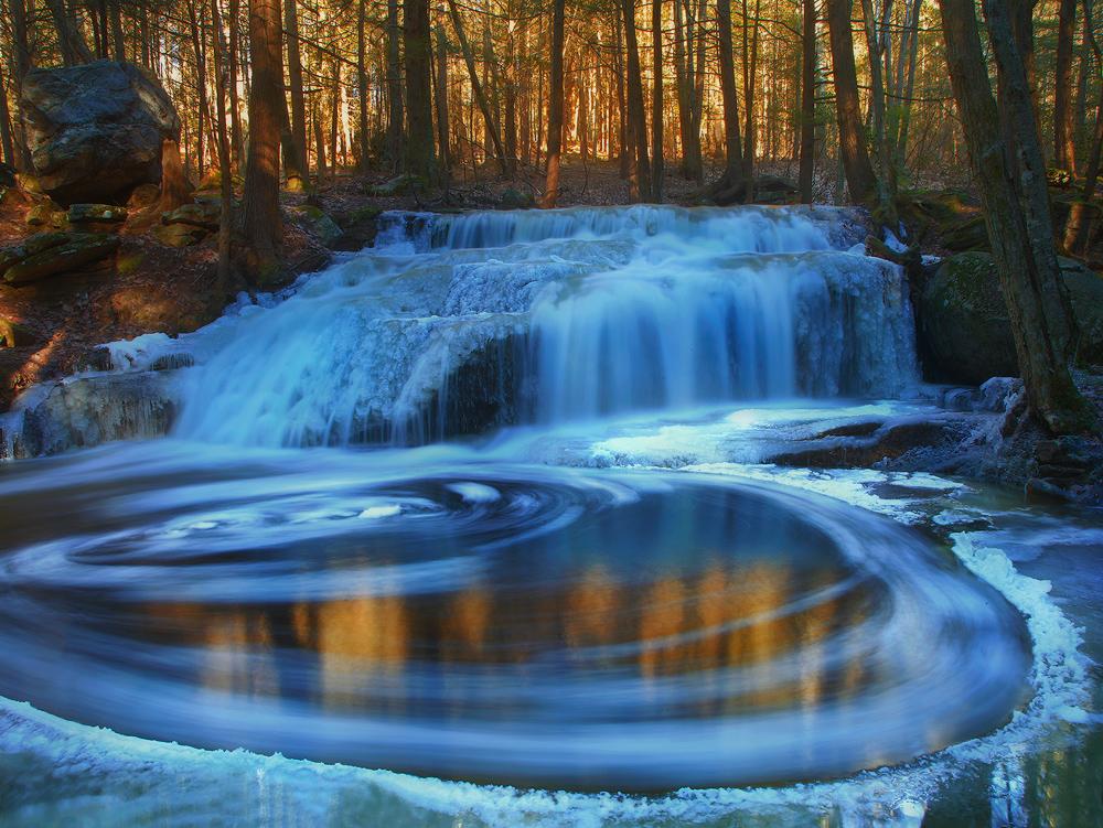 waterfall, winter, blue, gold,cascade, Massachusetts,