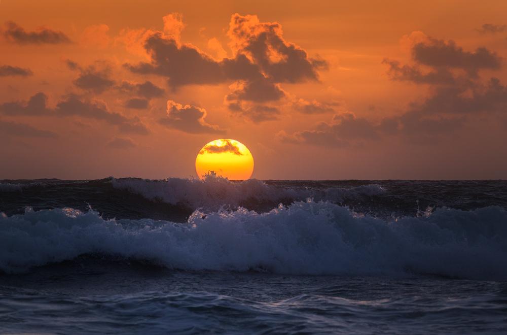 sunrise, ocean, waves, florida, patrickzephyr