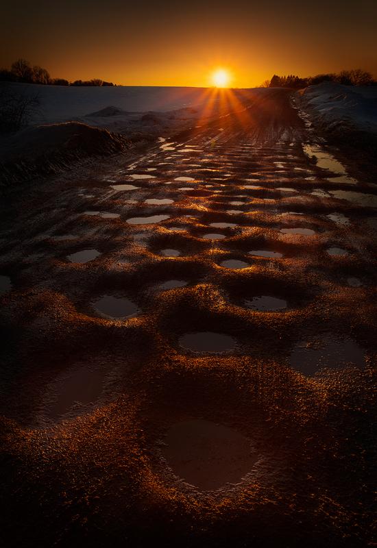 potholes, road, hadley, massachusetts, sunset, dusk, orange, , photo