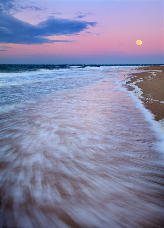 Cape cod, Massachusetts, moon, sunrise, pink, ocean, surf, herring cove