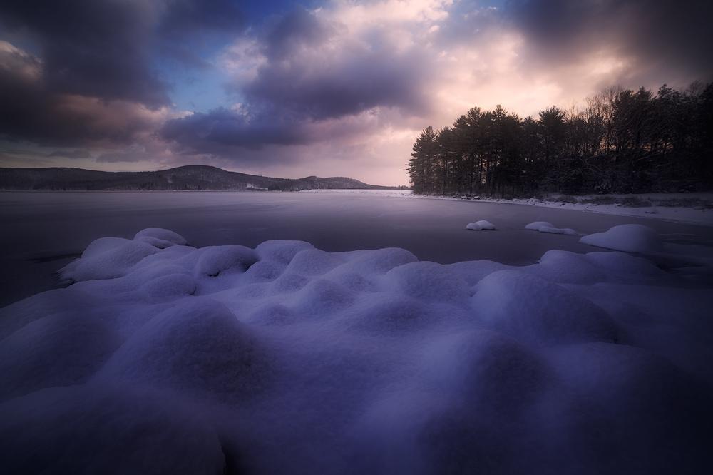 sunrise, dawn, snow, winter, quabbin reservoir, Massachusetts, patrick zephyr, , photo