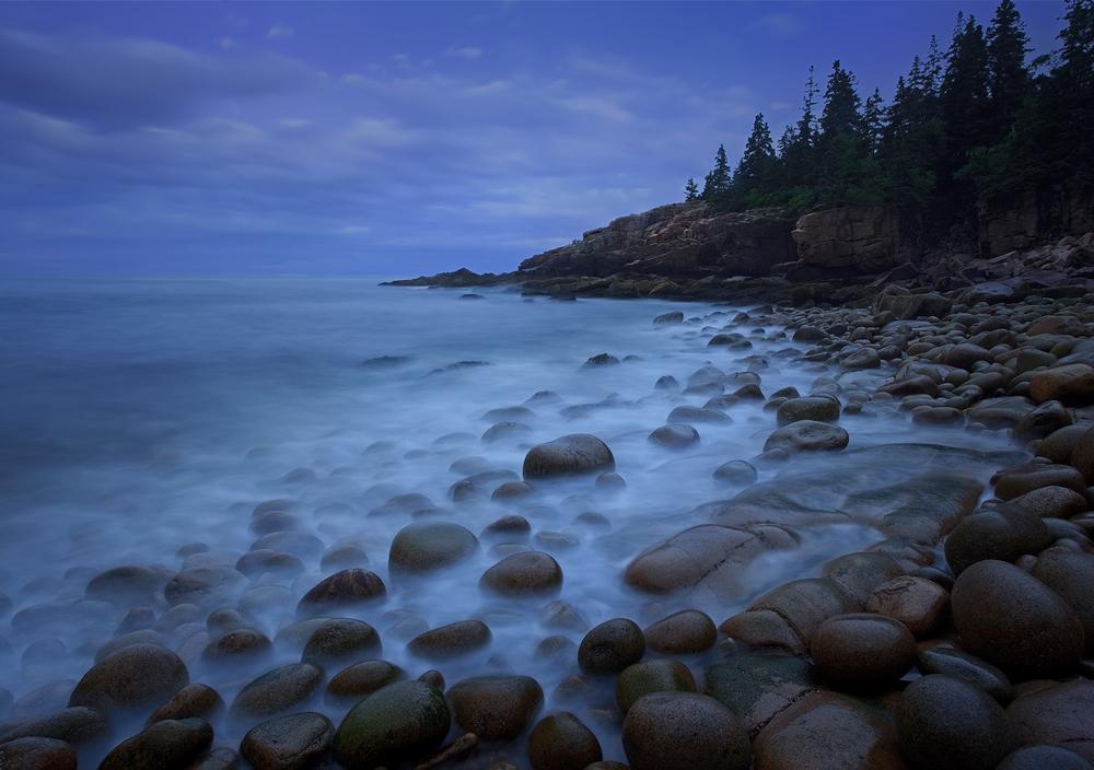Acadia national park, Maine, sunrise,  cobble stones, blue