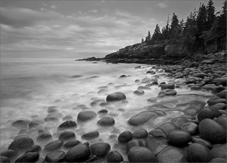 Acadia national park, Maine, ocean, fog, cobblestones