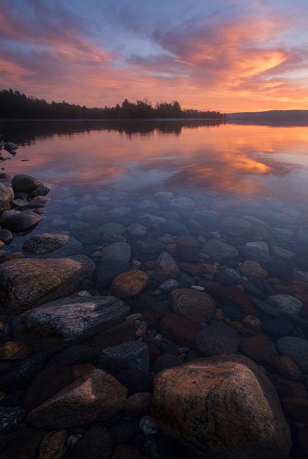 sunrise, Quabbin Reservoir, Massachusetts, rocks, lake Patrick Zephyr, wall art, , photo