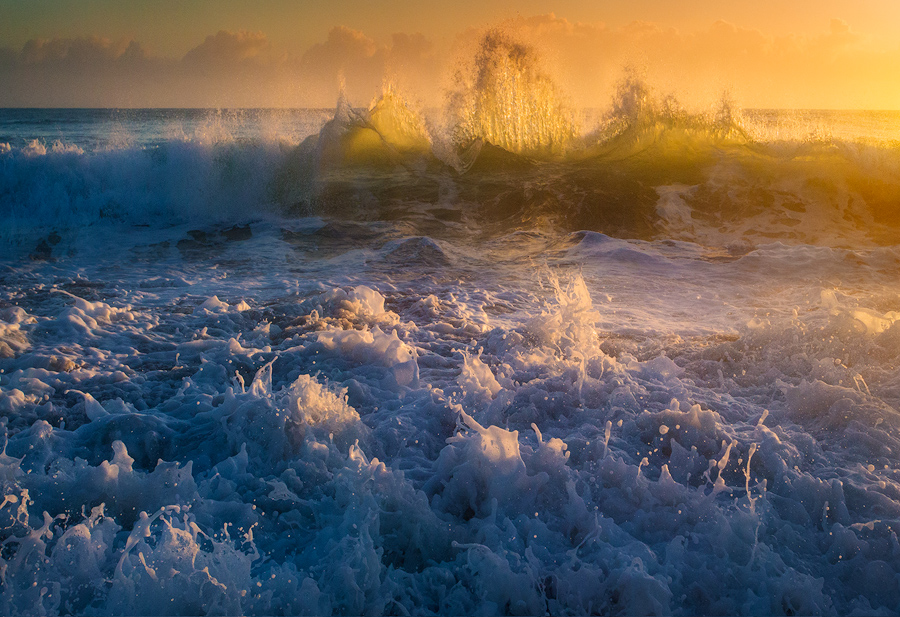 ocean, waves, dawn, splash, Florida, sunrise, beach, Patrick Zephyr Photography, photo