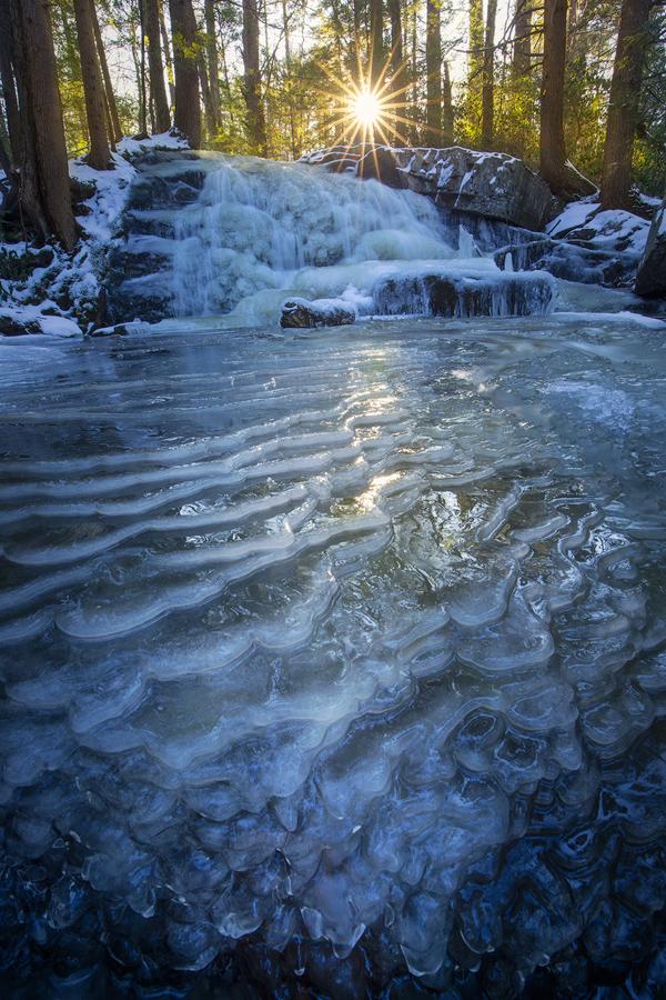 cascade, waterfall, massachusetts, New England, frozen, winter, ice, sunrise, Patrick Zephyr, photo