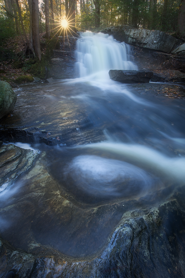 cascade, waterfall, dawn, sunrise, forest, Patrick Zephyr, stream, Massachusetts, New England