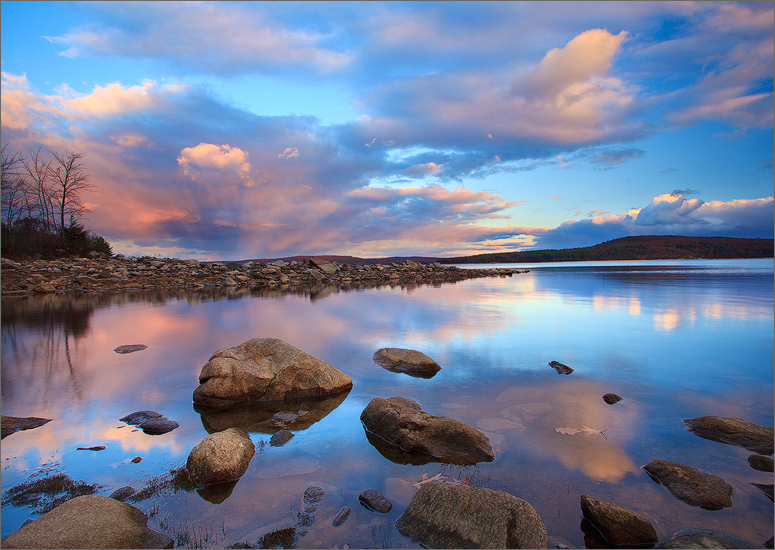 quabbin reservoir, massachusetts, sunset,  reflection