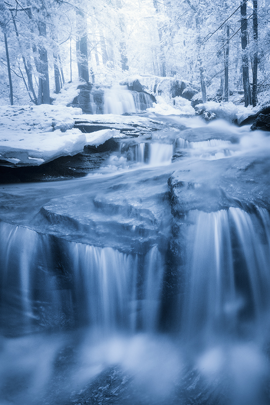 waterfall, winter, blue, ice, snow, cascade, photo