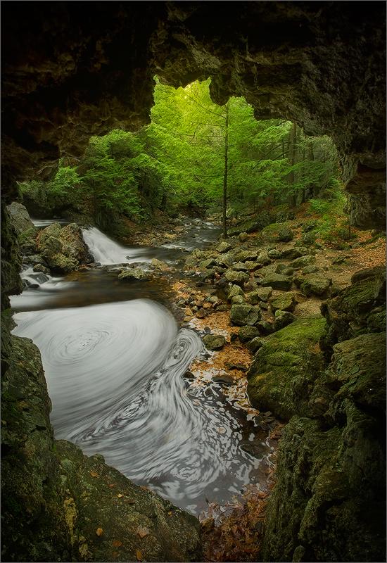 Bear's den, new Salem, Massachusetts, waterfall, cave