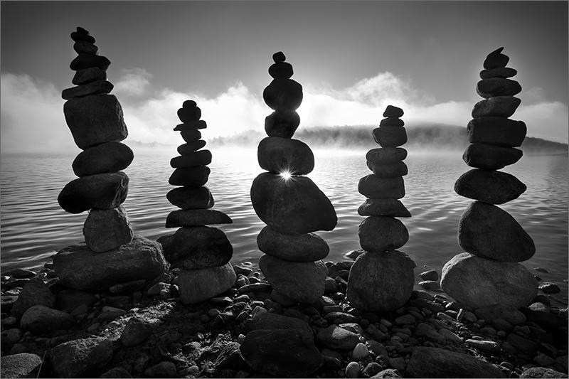 Quabbin reservoir, Massachusetts, cairns, balance, sunset, photo