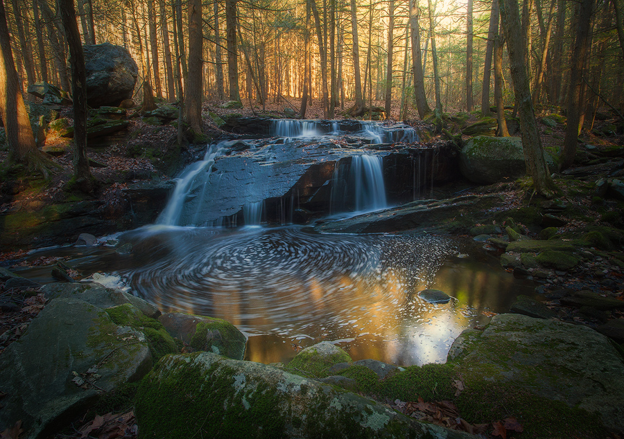 forest, stream, cascade, waterfall, New England, Massachusetts, Patrick Zephyr, reflections, Pelham, photo