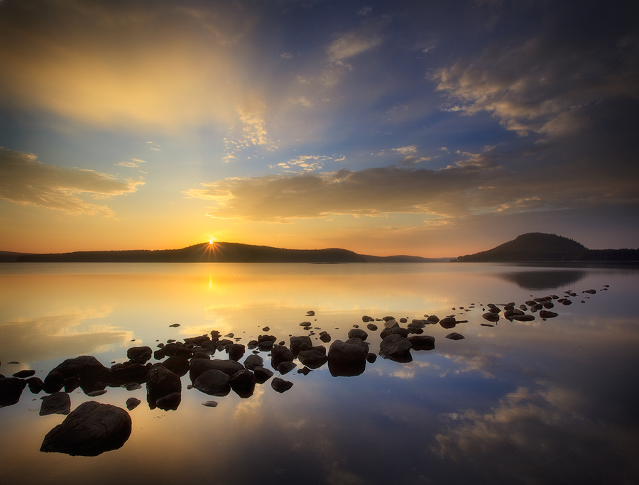 The Quabbin Reservoir is a large body of water and it's not often completely still but when it is, the sky extends forever!!!&...