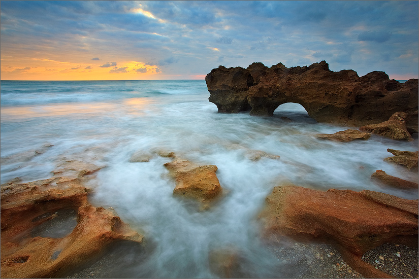 Florida, waves, ocean, surf, sunset, coral cove, photo