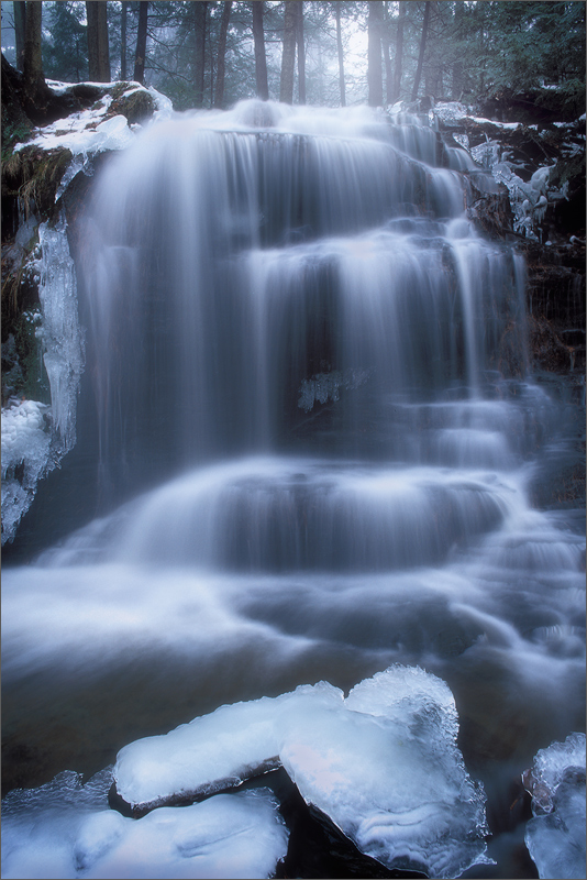 waterfall, massachusetts, gunn brook, winter, fog, cascade, photo