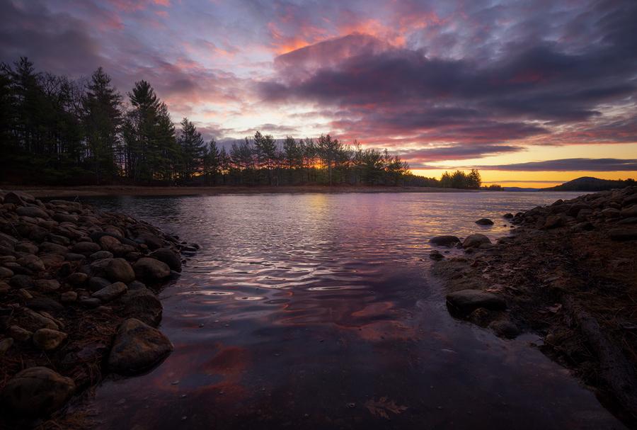 sunrise, Quabbin Reservoir, Massachusetts, Patrick Zephyr, reflection, lake, dawn, photo