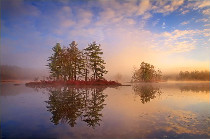 Harvard Pond, sunrise, massachusetts, island, photo