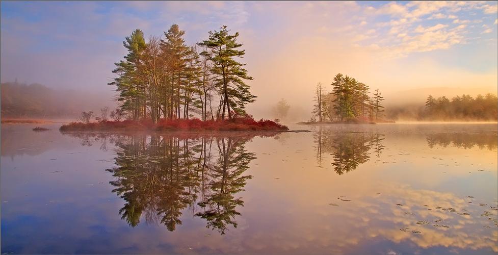 Harvard pond, petersham, Massachusetts, island, sunrise, fog, photo