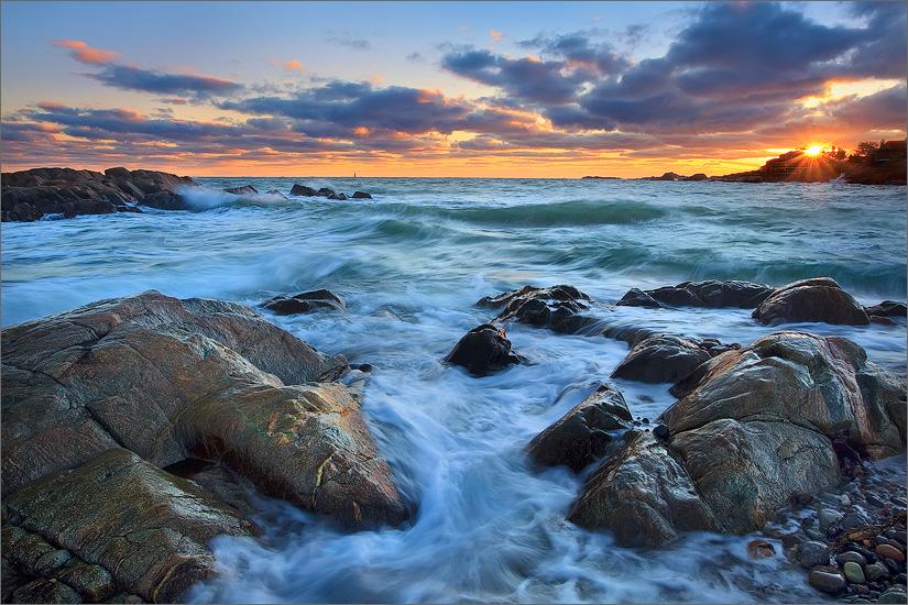Cohasset, Massachusetts, rocks, sunset, ocean, waves, photo