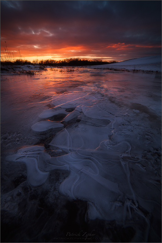 winter, ice, sunset, hadley, massachusetts, patrick zephyr, dusk, cold,, photo