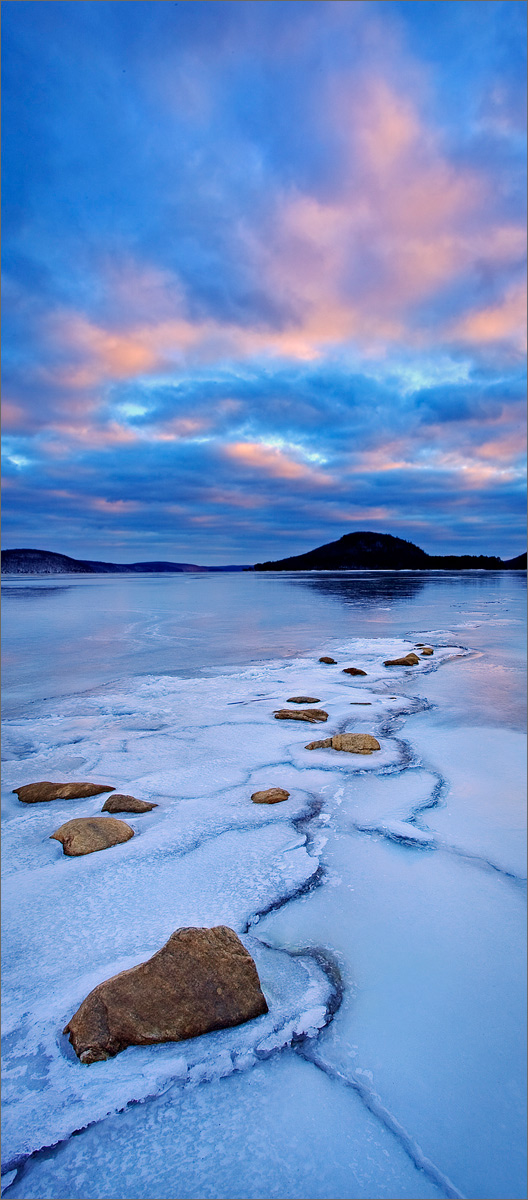 Quabbin reservoir, Massachusetts, ice, winter, snow, sunset