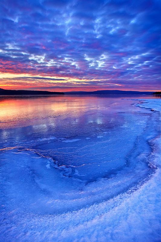 quabbin reservoir, massachusetts, sunrise, ice, winter, snow, photo
