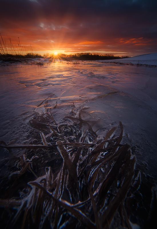 ice, sunset, dusk, hadley, massachusetts, winter, red, photo
