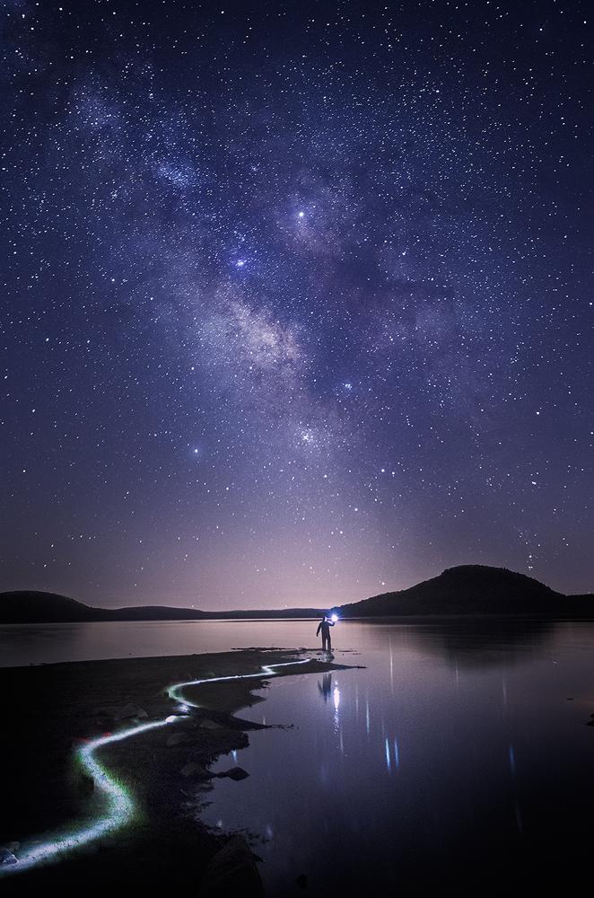 night photography,  milky way, light painting, Patrick Zephyr, Quabbin Reservoir, Massachusetts, landscape photography, photo