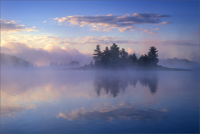 quabbin reservoir, massachusetts, sunrise, reflection, islands