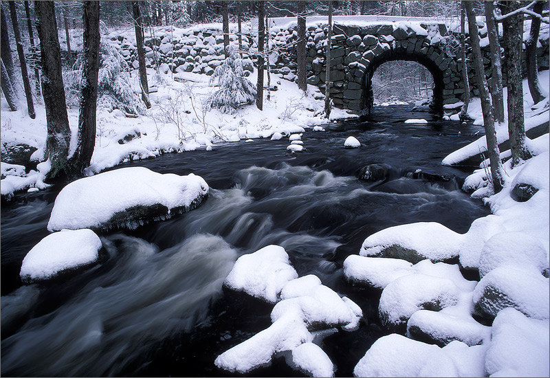 Swift river, keystone bridge, stream, quabbin reservoir, Massachusetts, winter