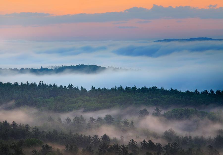 Fog, sunrise, quabbin reservoir, massach