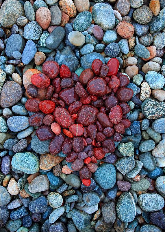 Rocks, heart, red, photo