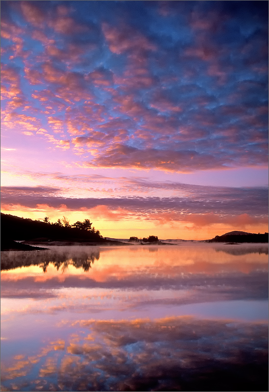 Mackerel clouds, sunrise, quabbin reservoir, Massachusetts, reflection