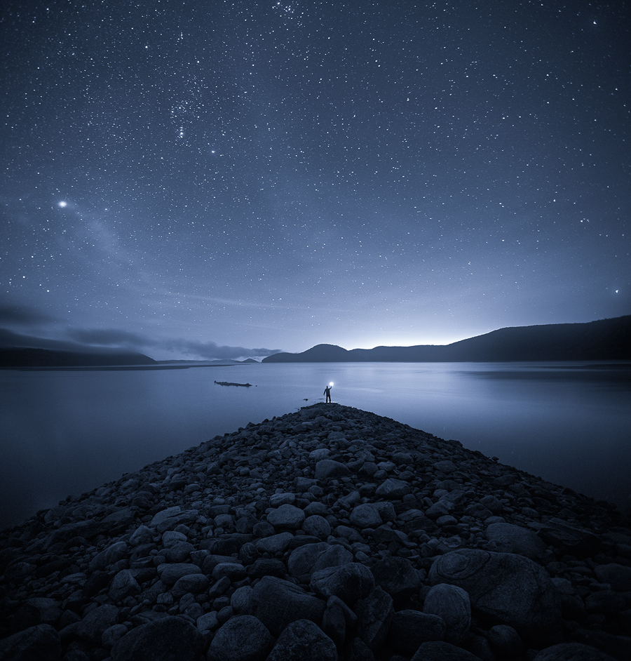 night, quabbin, blue, stars, wanderlust, rocks, patrick zephyr, photo