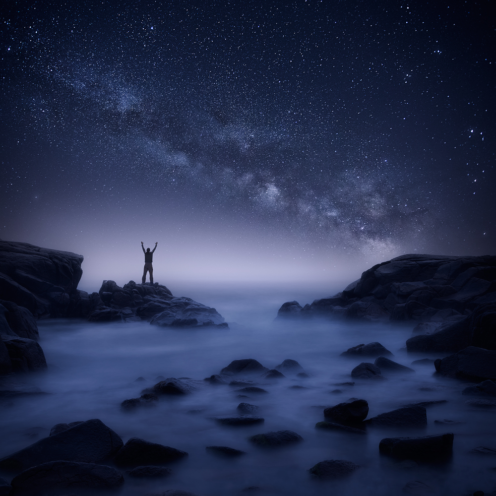 night, Milky Way, Biddeford, Maine, ocean, rocks, long exposure, blue, midnight, person,