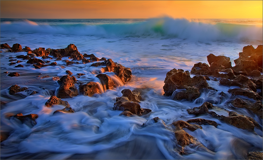 Florida, waves, ocean, surf, sunrise, coral cove, photo
