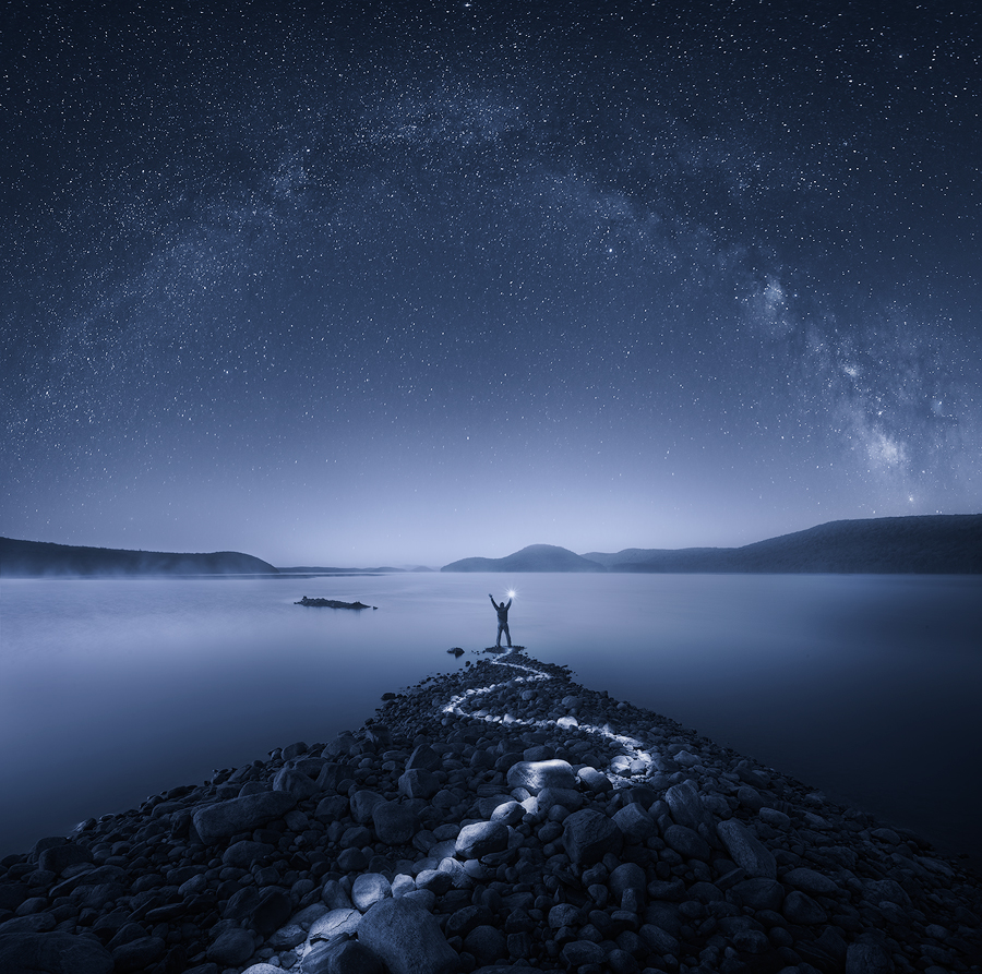 night, milkyway, quabbin reservoir, Massachusetts, long exposure, blue, rocks, stars, photo