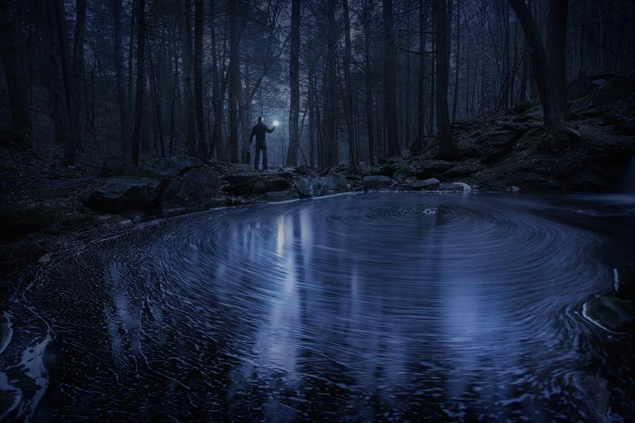 cascade, night, eddy, stream, blue, Pelham, Massachusetts, light, long exposure, photo