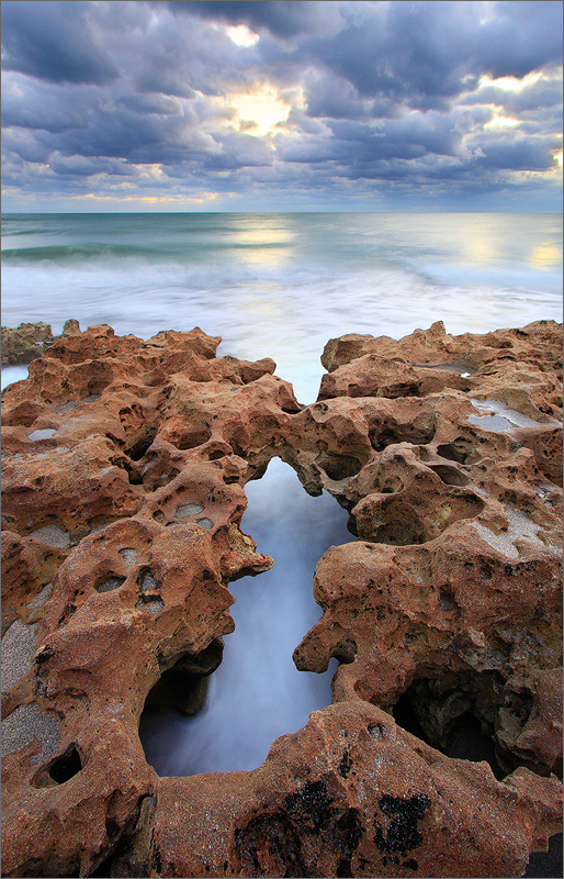Florida, coral cove, sunrise, ocean, rocks